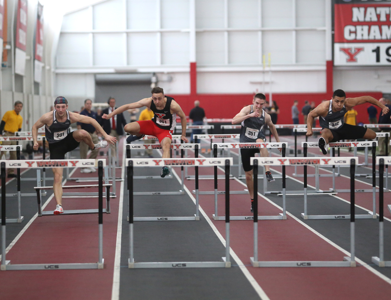 Youngstown's Tim Holzaphel run's the prelim Men's 60 meter hurdles during the first day of the 2018 Horizon League Indoor Championships, Saturday, Feb. 24, 2018, in Youngstown...(Nikos Frazier   The Vindicator)