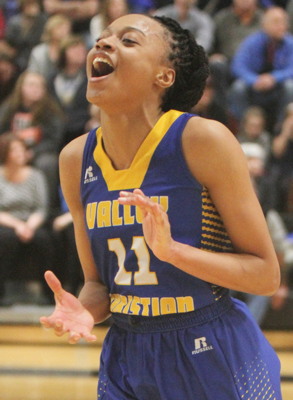 William D. Lewis The Vindicator   Valley Christian Imane Snyder(11) reacts during closing seconds ofwin over Jackson during 2-28-18 action at Ridge.