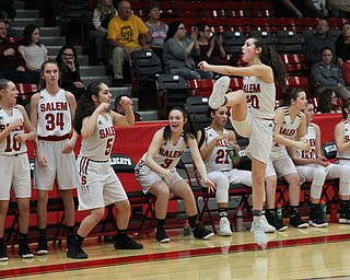 The Salem bench celebrates a 3-pointer during  the first half of Wednesday nights matchup at Struthers High School.  Dustin Livesay  |  The Vindicator  2/28/18  Struthers