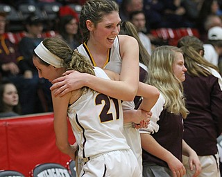 Dani Vuletich (25) and Samantha Patrone (21) of South Range hug after defeating Brookfield at Struthers on Wednesday night.   Dustin Livesay  |  The Vindicator  2/28/18  Struthers