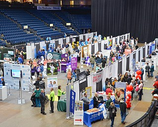 Looking down on the floor of the Valley Health and Wellness Expo held at the Covelli Centre on Saturday March 3, 2018...Photo by Scott Williams, The Vindicator.
