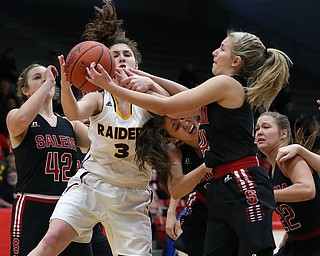 STRUTHERS, OHIO - MARCH 3, 2018:  South Range'sIzzy Lamparty (3) battles for the rebound with Salem's Casey Johnson (4) and her teammates during the 1st qtr at Struthers High School, Struthers' Fieldhouse.  MICHAEL G. TAYLOR | THE VINDICATOR