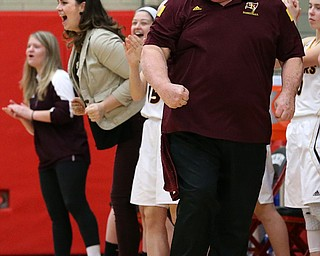 STRUTHERS, OHIO - MARCH 3, 2018:  South Range's head coach Tony Matisi celebrates during the 3rd qtr at Struthers High School, Struthers' Fieldhouse.  MICHAEL G. TAYLOR | THE VINDICATOR