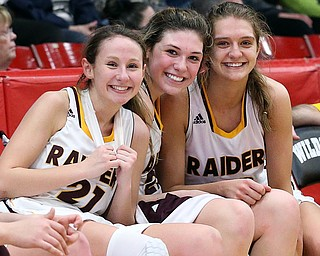 STRUTHERS, OHIO - MARCH 3, 2018:  left to right, South Range Raiders Samantha Patrone (21), Dani Vuletich (25) and Maddie Durkin (13) celebrate their D3 Championship at Struthers High School, Struthers' Fieldhouse.  MICHAEL G. TAYLOR | THE VINDICATOR