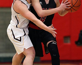 STRUTHERS, OHIO - MARCH 3, 2018:  South Range's Bree Kohler (12) traps Salem's Casey Johnson (4) during the 1st qtr at Struthers High School, Struthers' Fieldhouse.  MICHAEL G. TAYLOR | THE VINDICATOR