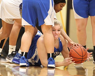 Hailee Carpenter (4) of Lisbon tries to free s loose ball during the first half of Saturday afternoons championship matchup against Valley Christian at Mineral Ridge.  Dustin Livesay  |  The Vindicator  3/3/18  Mineral Ridge.