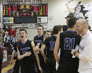 William D. Lewis The Vindicator Lakeview players celebrate after defeating Poland 3-7-18  at Boardman.