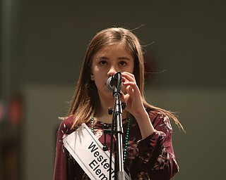 ROBERT  K. YOSAY | THE VINDICATOR..The 85th Spellling Bee at YSU and Kilcawley Center - 44 spellers came  down to  Mackenzie Sambroak 5th grader from Roosevelt Elementary in McDonald...Western Reserve Elementary Haylee Fellows 5th grade..