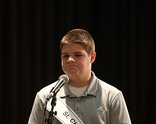 ROBERT  K. YOSAY | THE VINDICATOR..The 85th Spellling Bee at YSU and Kilcawley Center - 44 spellers came  down to  Mackenzie Sambroak 5th grader from Roosevelt Elementary in McDonald...St Christine  Hayen Dorian 8th Grade St Christies .. shows his displeasure - after missing a word