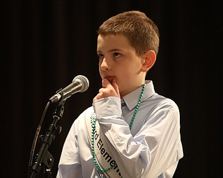 ROBERT  K. YOSAY | THE VINDICATOR..The 85th Spellling Bee at YSU and Kilcawley Center - 44 spellers came  down to  Mackenzie Sambroak 5th grader from Roosevelt Elementary in McDonald...Hubbard Elementary Luke Wack contemplates his word ... 4th grade