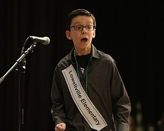 ROBERT  K. YOSAY | THE VINDICATOR..The 85th Spellling Bee at YSU and Kilcawley Center - 44 spellers came  down to  Mackenzie Sambroak 5th grader from Roosevelt Elementary in McDonald...Yep i did it as Kyle England reacts