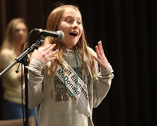 ROBERT  K. YOSAY | THE VINDICATOR..The 85th Spellling Bee at YSU and Kilcawley Center - 44 spellers came  down to  Mackenzie Sambroak 5th grader from Roosevelt Elementary in McDonald... Mackenzie Sambroak 5th grader from Roosevelt Elementary in McDonald. reacts to the winning championship word