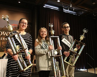 ROBERT  K. YOSAY | THE VINDICATOR..The 85th Spellling Bee at YSU and Kilcawley Center - 44 spellers came  down to  Mackenzie Sambroak 5th grader from Roosevelt Elementary in McDonald...2nd place Nina Dill  Mackenzie Sambroak and Dominic Nohra   3rd place