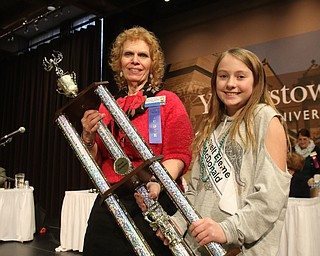 ROBERT  K. YOSAY | THE VINDICATOR..The 85th Spellling Bee at YSU and Kilcawley Center - 44 spellers came  down to  Mackenzie Sambroak 5th grader from Roosevelt Elementary in McDonald... Mackenzie Sambroak 5th grader from Roosevelt Elementary in McDonald. and judge Carol Ryan