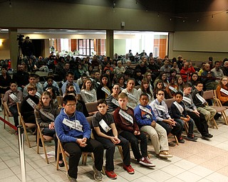 ROBERT  K. YOSAY | THE VINDICATOR..The 85th Spellling Bee at YSU and Kilcawley Center - 44 spellers came  down to  Mackenzie Sambroak 5th grader from Roosevelt Elementary in McDonald...The speller and family