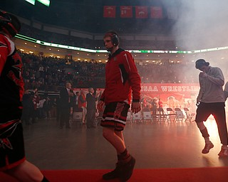 Beaver's Cole McComas, center, is seen entering during the parade of champions for the Division II Ohio state wrestling tournament at the Ohio State University Saturday, March 10, 2018. (Photo by Paul Vernon)