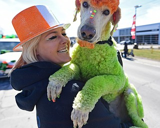 BOARDMAN, OHIO - MARCH 11, 2018: Brienna Donaldson holds Rowdy while marching on Market Street during the Mahoning Valley St. Patrick's Day Parade. DAVID DERMER | THE VINDICATOR