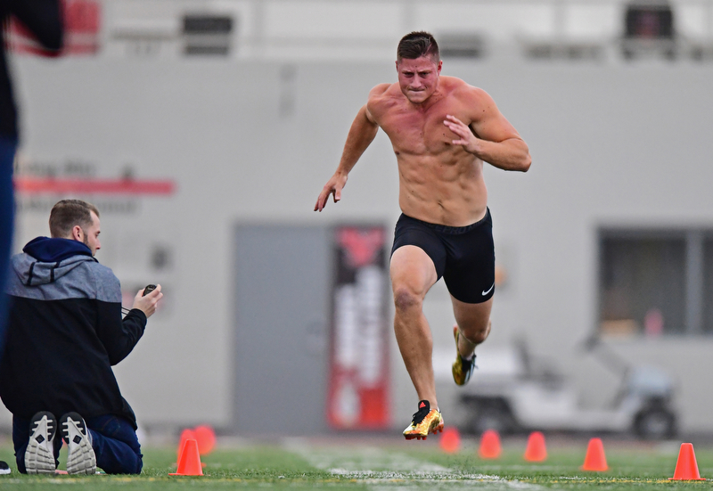 YOUNGSTOWN, OHIO - MARCH 13, 2018: Youngstown State's Kevin Rader runs the 40 yard dash during the Youngstown State football pro day, Tuesday morning at the Watts Indoor Facility. DAVID DERMER | THE VINDICATOR