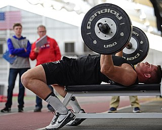 YOUNGSTOWN, OHIO - MARCH 13, 2018: Youngstown State's Kevin Rader competes during the bench press during the Youngstown State football pro day, Tuesday morning at the Watts Indoor Facility. DAVID DERMER | THE VINDICATOR