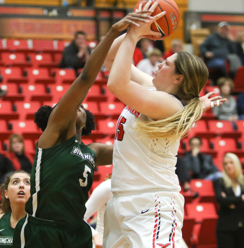 ROBERT K.YOSAY  | THE VINDICATOR..YSU Women went down to defeat against Binghamton 70-59  but not without a fight- The Penguins led by at least 10 at some point in the first half..-30-
