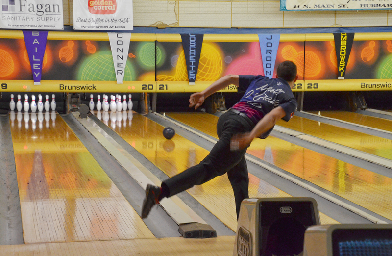 PBA bowler Matt O'Grady, from Rahway, NJ, throws at ball at the PBA Trumbull County Tourism Bureau Central/East Open at Bell Wick Bowling Alley in Hubbard, Ohio on Sunday, March 18, 2018.