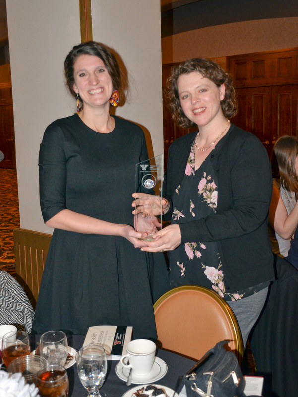 Alison Kaufam, left, and Hillary Fuhrrman, right, display their Diversity Leadership Achievement Award at the Diversity Leadership Recognition Dinner at Stambaugh Tyler Grand Ballroom on Thursday, March 22, 2018.  Both are from the Office of Assessment.