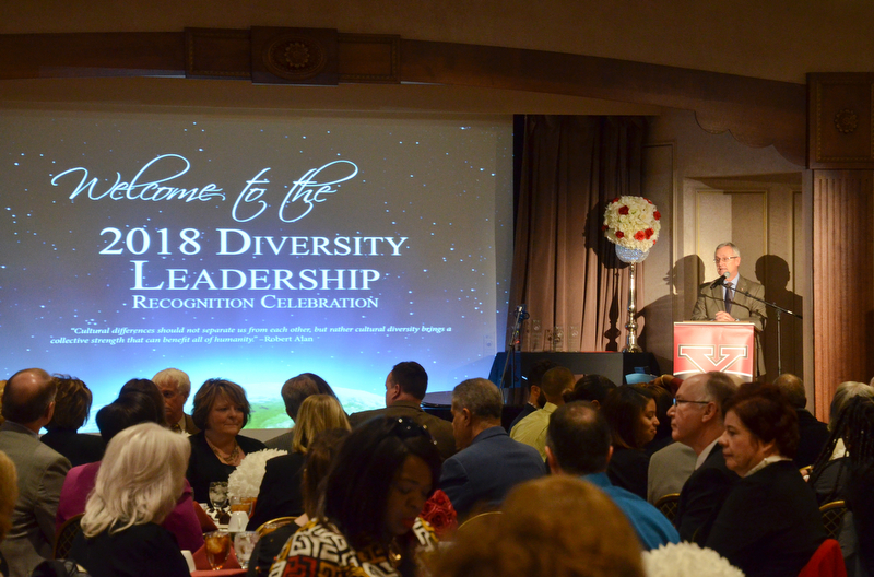 Youngstown State University President James P. Tressel addresses the room at the Diversity Leadership Recognition Dinner at Stambaugh Tyler Grand Ballroom on Thursday, March 22, 2018.