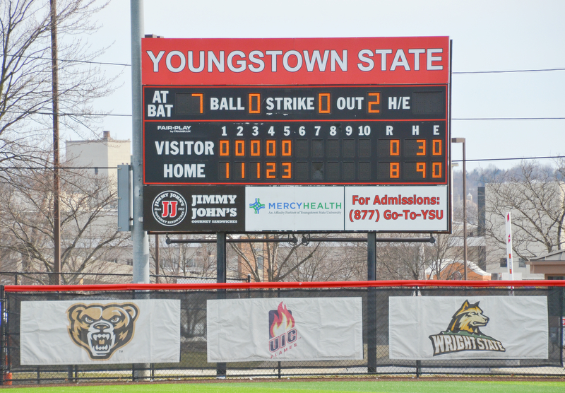 The ladies from Youngstown State only needed five innings to defeat Indiana University-Purdue University Indianapolis by mercy rule during game two March 24, 2018 at the Covelli Sports Complex at Youngstown State University.  Photo by Scott Williams - The Vindicator.