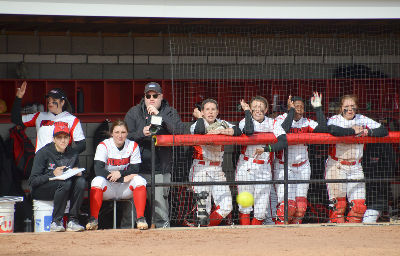 All cheers from the Youngstown State dugout during game two against Indiana University-Purdue University Indianapolis March 24, 2018 at the Covelli Sports Complex at Youngstown State University.  Photo by Scott Williams - The Vindicator.