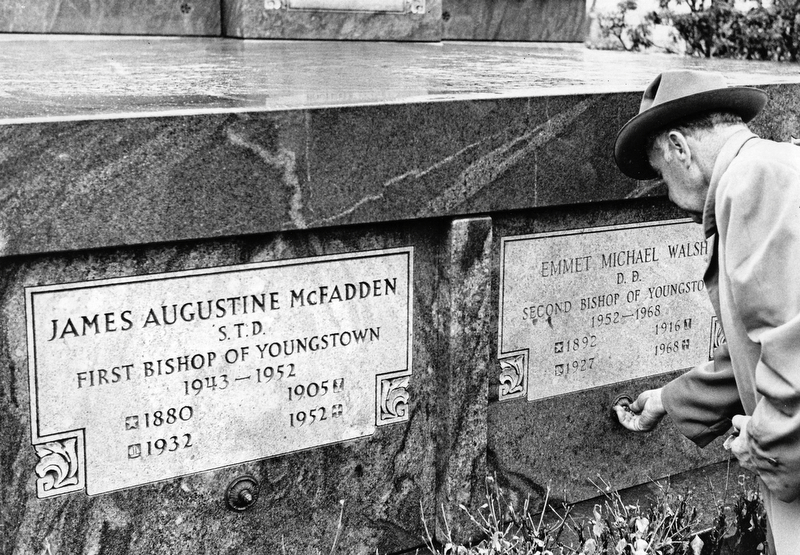 Name plate in place, after internment next to Bishop McFadden.  Photo taken March 23, 1968.  Photo by Paul R. Schell.
