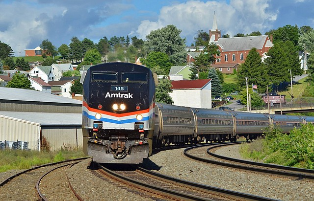 "Amtrak's Pittsburgh to New York City train ""The Pennsylvanian"" in Gallitzin, Pennsylvania.