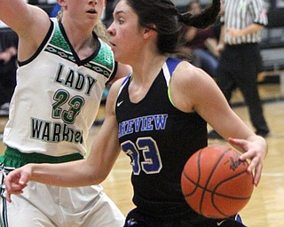 William D. Lewis The vindicator  Lakeview's Annie Pavlansky(33) drives around West Branch's Kayla Hvorka(23) during Bubba action at Warren Harding.