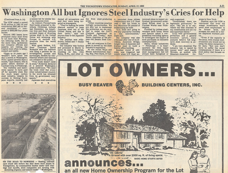 Washington All but Ignores Steel Industry's Cries for Help - this story ran in The Youngstown Vindicator on Sunday April 17, 1983.