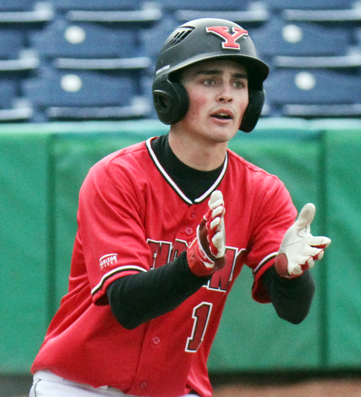 William D. Lewis The Vindicator YSU's Cody Dennis(10) reacts after scoring during 3-30-18 game at Eastwood with UIC.