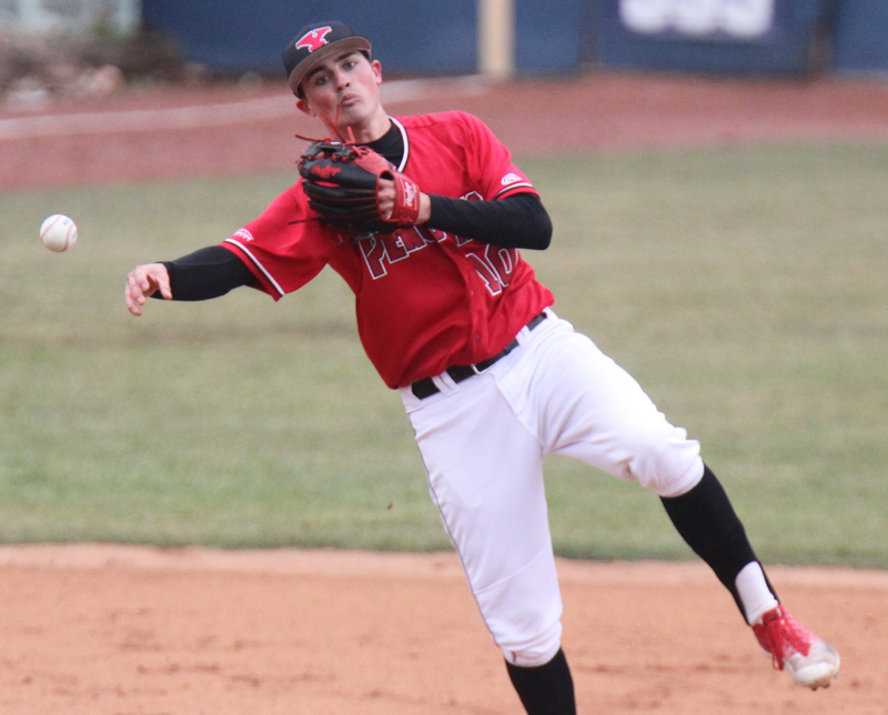 William D. Lewis The Vindicator YSU's SS Cody Dennis(10) make the throw to first for an out during 3-30-18 game at Eastwood with UIC.