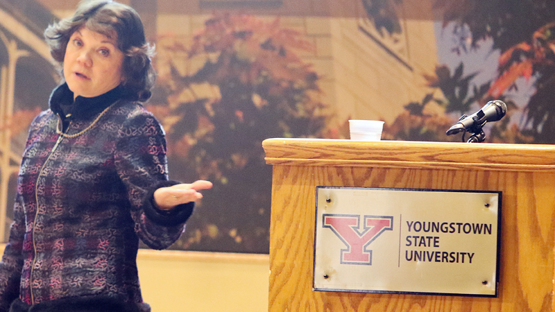 "Donna J. Nelson, University of Oklahoma chemistry professor who served as a consultant on the TV show ""Breaking Bad,"" gives the keynote address at the 29th annual QUEST Forum for Student Scholarship Tuesday at Youngstown State University."