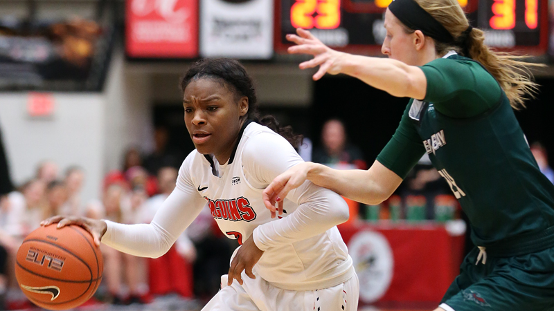 Youngstown State's Indiya Benjamin dribbles up the court during a game against Green Bay in February.