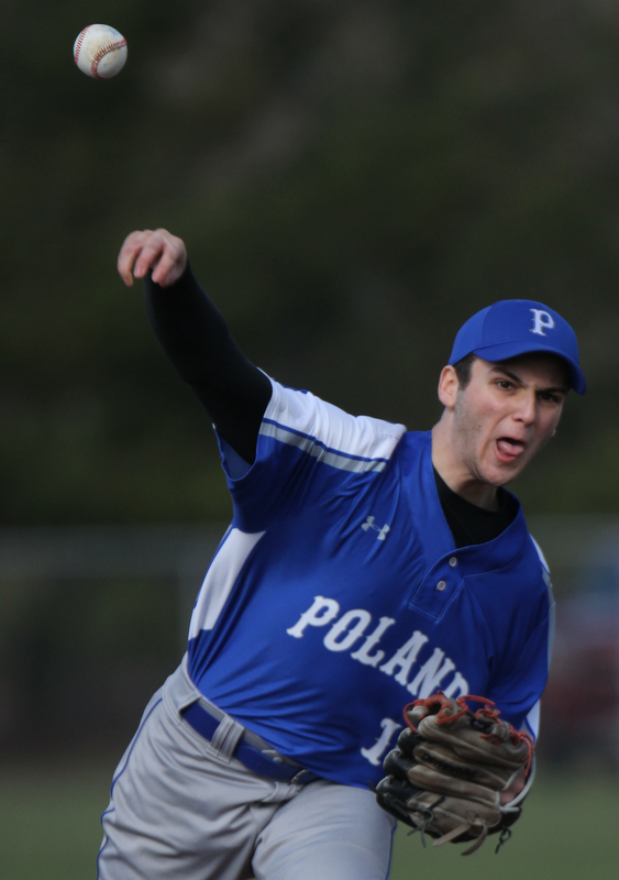 Poland pitcher Matt Speratti(16) during 4-5-18 game with Struthers at Cene.