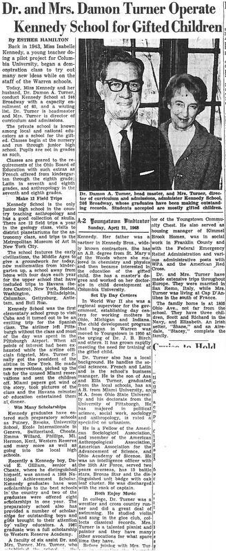 Dr. and Mrs. Damon Turner Operated Kennedy School for Gifted Children.  Story by Esther Hamilton.  Published Sunday, April 21, 1968.