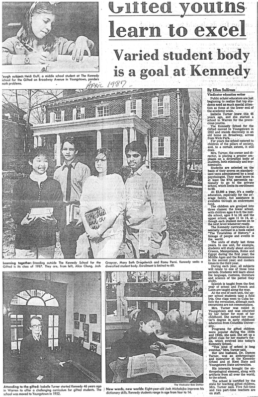 Gifted Youths Learn to Excel - Varied Student Body is a Goal at Kennedy.  Story by Ellen Sullivan.  Story published April 1987.