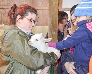 Mother Becky Wojtowicz holds daughter Emily, 3, as they pet a baby goat, held by Natalie DelSignore, a volunteer with Jr. Fair Board, at Mill Creek MetroParks' annual Farm Animal Baby Shower at the MetroParks Farm in Canfield on Sunday April 8, 2018.