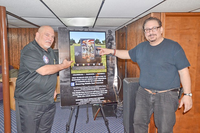 Artist Raymond A. Simon, right, and Tony Revetti, left, show off a drawing of what will become the Mahoning Valley Middle East Memorial at Wickliffe Circle in Austintown.  Revetti is spearheading the memorial's construction.