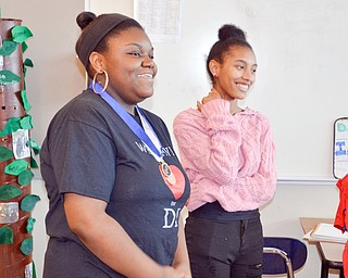 Brianna James, 11th grade, (left) and Talasia Vazquez, 9th grade, at two members of the Destination Imagination group at East East School.