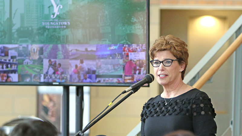 Jan Strasfeld, executive director of the  Youngstown Foundation, announces that the foundation will double the add-on it gives to nonprofits that receive donations through its Support Fund. The announcement is a way for the foundation to celebrate its 100th anniversary.