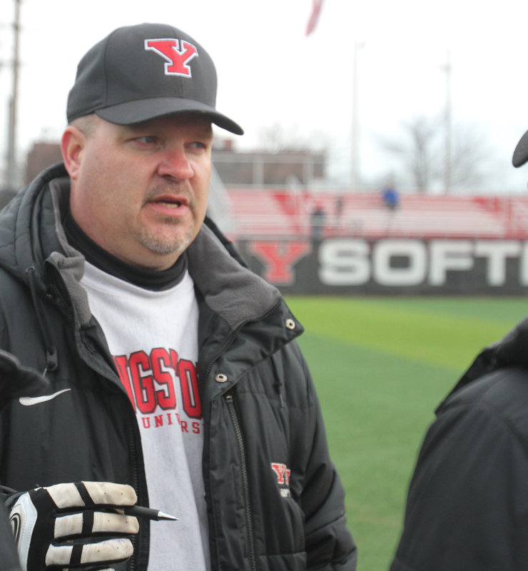 William D. Lewis The Vindicator  YSU softball coach Brian Campbell after his 500 th carreer win over NKU 4-10-18.