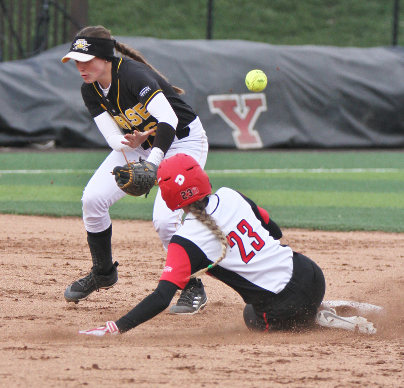 William D. Lewis The Vindicator  YSU Lexi Zappitelli(23) is safe at 2nd as NKU's Toree Stalter(6) loses ontrol of the balll during 2nd game withNKU 4-10-18