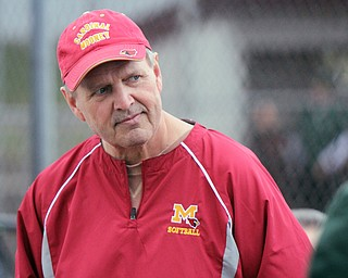 William D. Lewis The Vindicator Mooney Softball coach Mark Rinhart during 4-11-18 qt Feilds of Dreams.