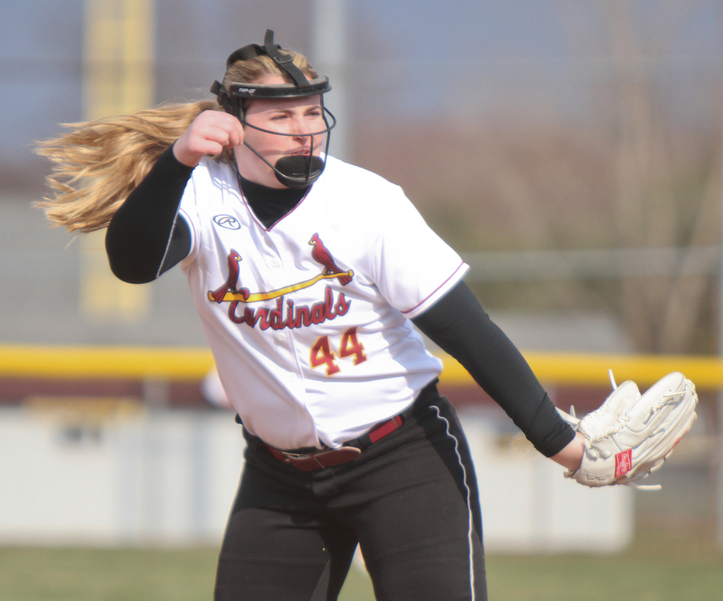 William D. Lewis The Vindicator  Mooney pitcher Kayla Rutherford (44) during 4-11-18 game with Ursuline.
