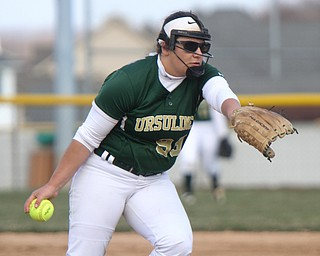 William D. Lewis The Vindicator  Ursuline pitcher Jordan Kennally(99)) during 4-11-18 game with Mooney.
