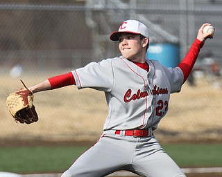Columbiana pitcher Evan Kenneally (23) during 4-12-2018 game at Fitch.